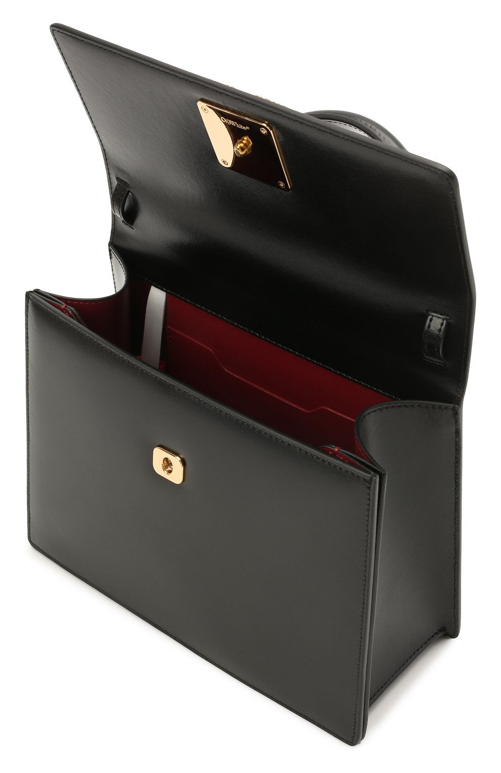 Женская сумка 2.8 jitney OFF-WHITE черного цвета, арт. 0WNP002S21LEA001 | Фото 4 (Сумки-технические: Сумки через плечо, Сумки top-handle; Материал: Натуральная кожа; Ремень/цепочка: На ремешке; Размер: small)