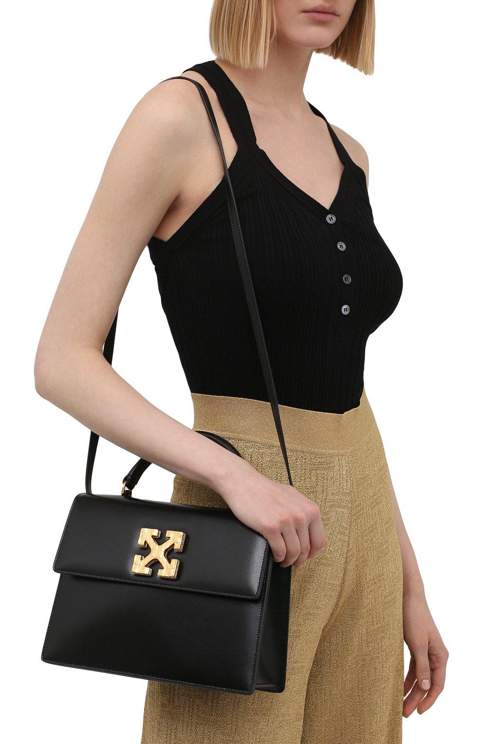 Женская сумка 2.8 jitney OFF-WHITE черного цвета, арт. 0WNP002S21LEA001 | Фото 5 (Сумки-технические: Сумки через плечо, Сумки top-handle; Материал: Натуральная кожа; Ремень/цепочка: На ремешке; Размер: small)