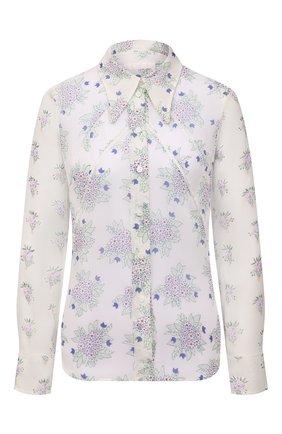 Женская шелковая блузка CHLOÉ белого цвета, арт. CHC21UHT05322 | Фото 1 (Принт: С принтом; Стили: Романтичный; Женское Кросс-КТ: Блуза-одежда; Рукава: Длинные; Длина (для топов): Стандартные; Материал внешний: Шелк)