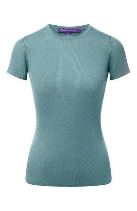 Женская шелковая футболка RALPH LAUREN бирюзового цвета, арт. 290710199 | Фото 1