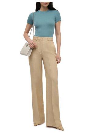 Женская шелковая футболка RALPH LAUREN бирюзового цвета, арт. 290710199 | Фото 2