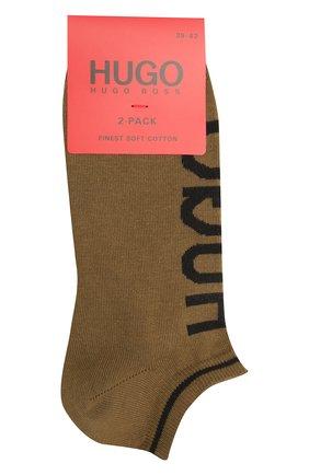 Мужские комплект из двух пар носков HUGO хаки цвета, арт. 50401967 | Фото 1 (Материал внешний: Хлопок; Кросс-КТ: бельё)