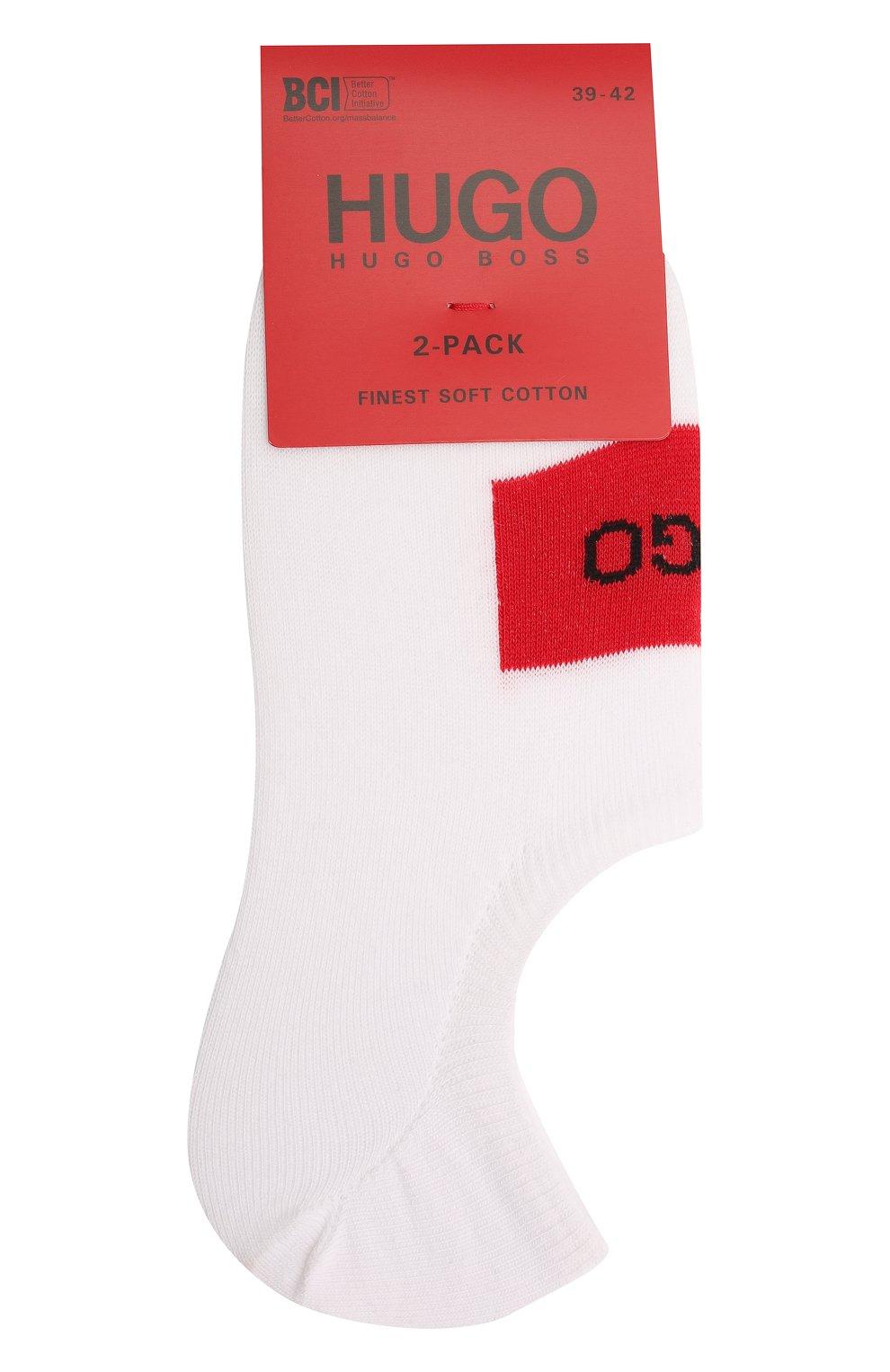Мужские комплект из двух пар носков HUGO белого цвета, арт. 50439588 | Фото 1 (Кросс-КТ: бельё; Материал внешний: Хлопок)