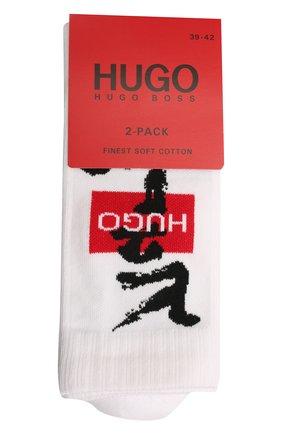 Мужские комплект из двух пар носков HUGO белого цвета, арт. 50449848 | Фото 1 (Материал внешний: Хлопок; Кросс-КТ: бельё)