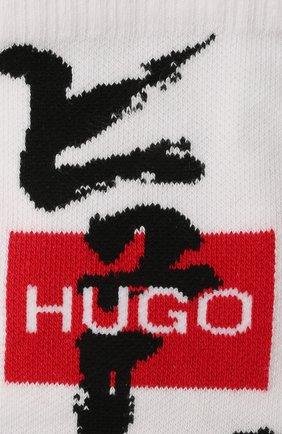 Мужские комплект из двух пар носков HUGO белого цвета, арт. 50449848 | Фото 2 (Материал внешний: Хлопок; Кросс-КТ: бельё)