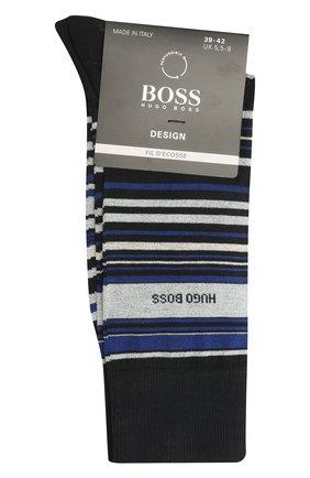 Мужские хлопковые носки BOSS темно-синего цвета, арт. 50452771 | Фото 1 (Кросс-КТ: бельё; Материал внешний: Хлопок)