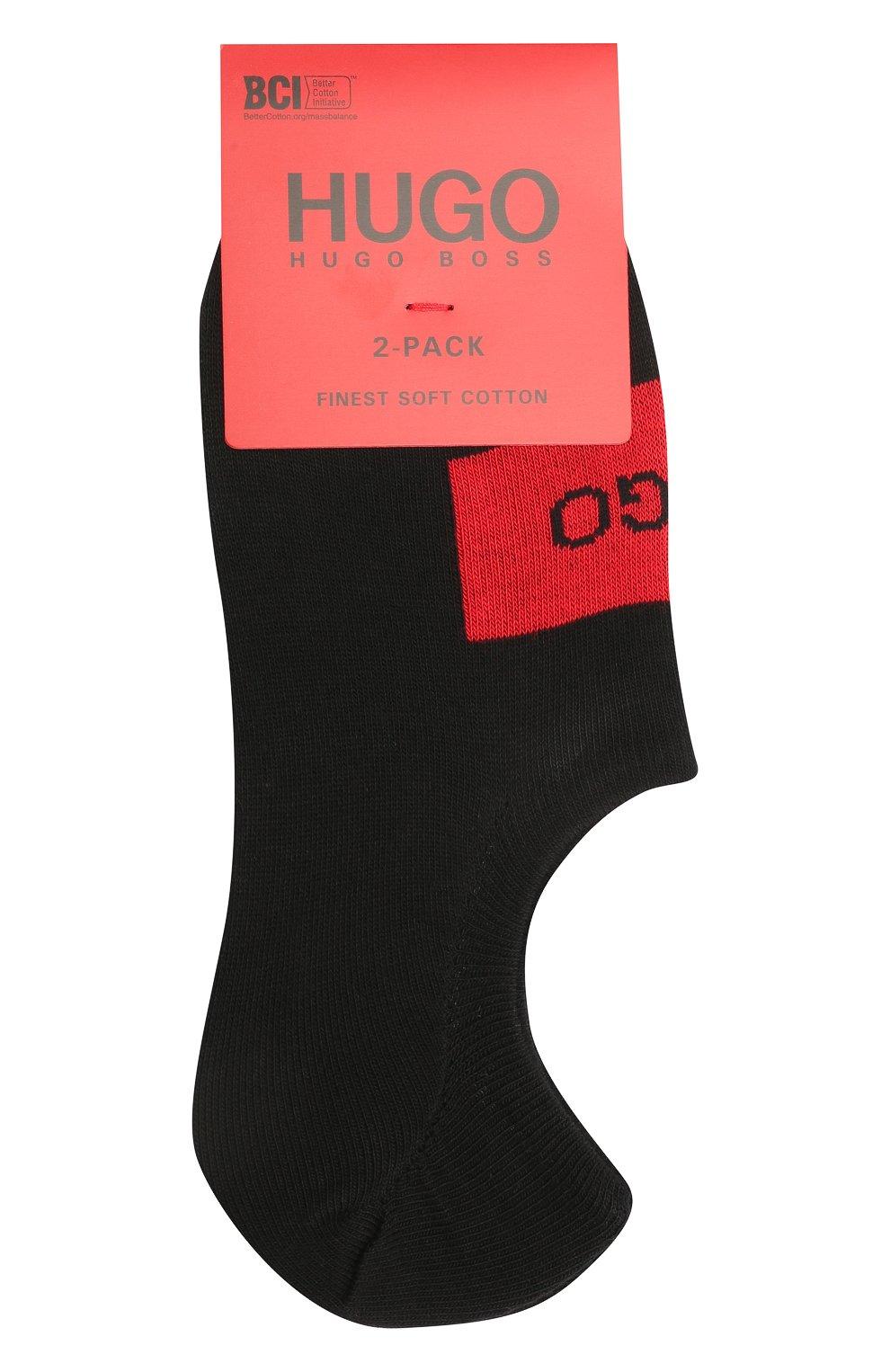 Мужские комплект из двух пар носков HUGO черного цвета, арт. 50439588 | Фото 1 (Кросс-КТ: бельё; Материал внешний: Хлопок)