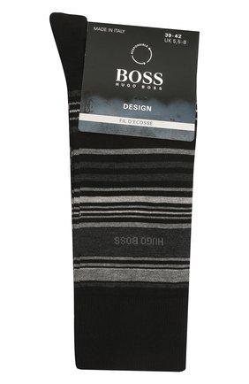 Мужские хлопковые носки BOSS черного цвета, арт. 50452771 | Фото 1 (Материал внешний: Хлопок; Кросс-КТ: бельё)