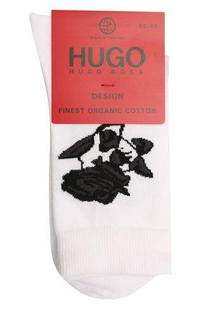 Мужские хлопковые носки HUGO белого цвета, арт. 50453129 | Фото 1 (Материал внешний: Хлопок; Кросс-КТ: бельё)