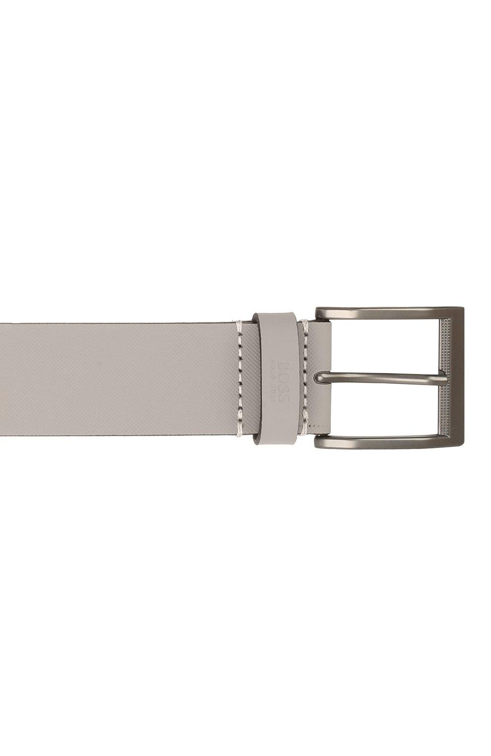 Мужской кожаный ремень BOSS серого цвета, арт. 50455250   Фото 3