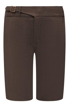 Мужские шорты из шерсти и лена ZILLI коричневого цвета, арт. M0V-40-38Z-E6031/0001 | Фото 1 (Материал внешний: Шерсть, Лен; Принт: Без принта; Материал подклада: Купро; Длина Шорты М: До колена; Мужское Кросс-КТ: Шорты-одежда; Стили: Кэжуэл)