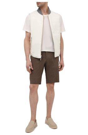 Мужские шорты из шерсти и лена ZILLI коричневого цвета, арт. M0V-40-38Z-E6031/0001 | Фото 2 (Материал внешний: Шерсть, Лен; Принт: Без принта; Материал подклада: Купро; Длина Шорты М: До колена; Мужское Кросс-КТ: Шорты-одежда; Стили: Кэжуэл)