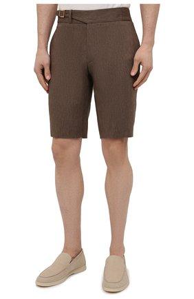 Мужские шорты из шерсти и лена ZILLI коричневого цвета, арт. M0V-40-38Z-E6031/0001 | Фото 3