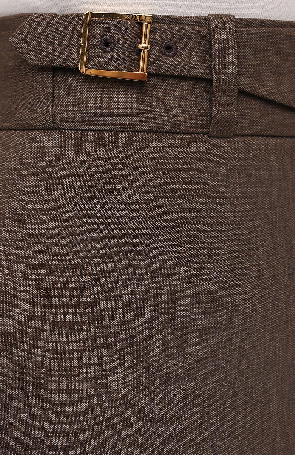 Мужские шорты из шерсти и лена ZILLI коричневого цвета, арт. M0V-40-38Z-E6031/0001 | Фото 5