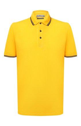 Мужское хлопковое поло CANALI желтого цвета, арт. T0672/MY01200   Фото 1 (Длина (для топов): Стандартные; Материал внешний: Хлопок; Рукава: Короткие; Стили: Кэжуэл; Застежка: Пуговицы)