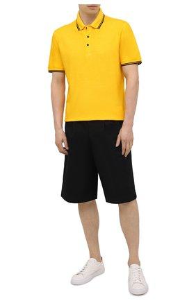 Мужское хлопковое поло CANALI желтого цвета, арт. T0672/MY01200   Фото 2 (Длина (для топов): Стандартные; Материал внешний: Хлопок; Рукава: Короткие; Стили: Кэжуэл; Застежка: Пуговицы)