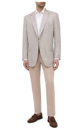 Мужской пиджак из шерсти и шелка CANALI бежевого цвета, арт. 21280/CU00383   Фото 2