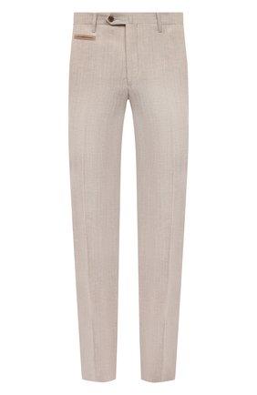 Мужские брюки из шерсти и льна CORNELIANI светло-бежевого цвета, арт. 875B05-1114165/02   Фото 1 (Материал внешний: Лен, Шерсть; Стили: Кэжуэл; Случай: Повседневный; Длина (брюки, джинсы): Стандартные)