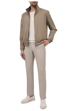 Мужские брюки из шерсти и льна CORNELIANI светло-бежевого цвета, арт. 875B05-1114165/02   Фото 2 (Материал внешний: Лен, Шерсть; Стили: Кэжуэл; Случай: Повседневный; Длина (брюки, джинсы): Стандартные)