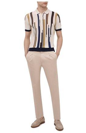 Мужское поло из шелка и льна CORNELIANI светло-бежевого цвета, арт. 87M566-1125161/00 | Фото 2