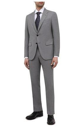 Мужская хлопковая сорочка CORNELIANI белого цвета, арт. 87P150-1111267/00 | Фото 2 (Манжеты: Под запонки; Воротник: Акула; Случай: Формальный; Длина (для топов): Стандартные; Материал внешний: Хлопок; Рубашки М: Regular Fit; Рукава: Длинные; Принт: Однотонные; Стили: Классический)