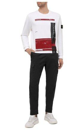 Мужской хлопковый свитшот STONE ISLAND белого цвета, арт. 741563095 | Фото 2