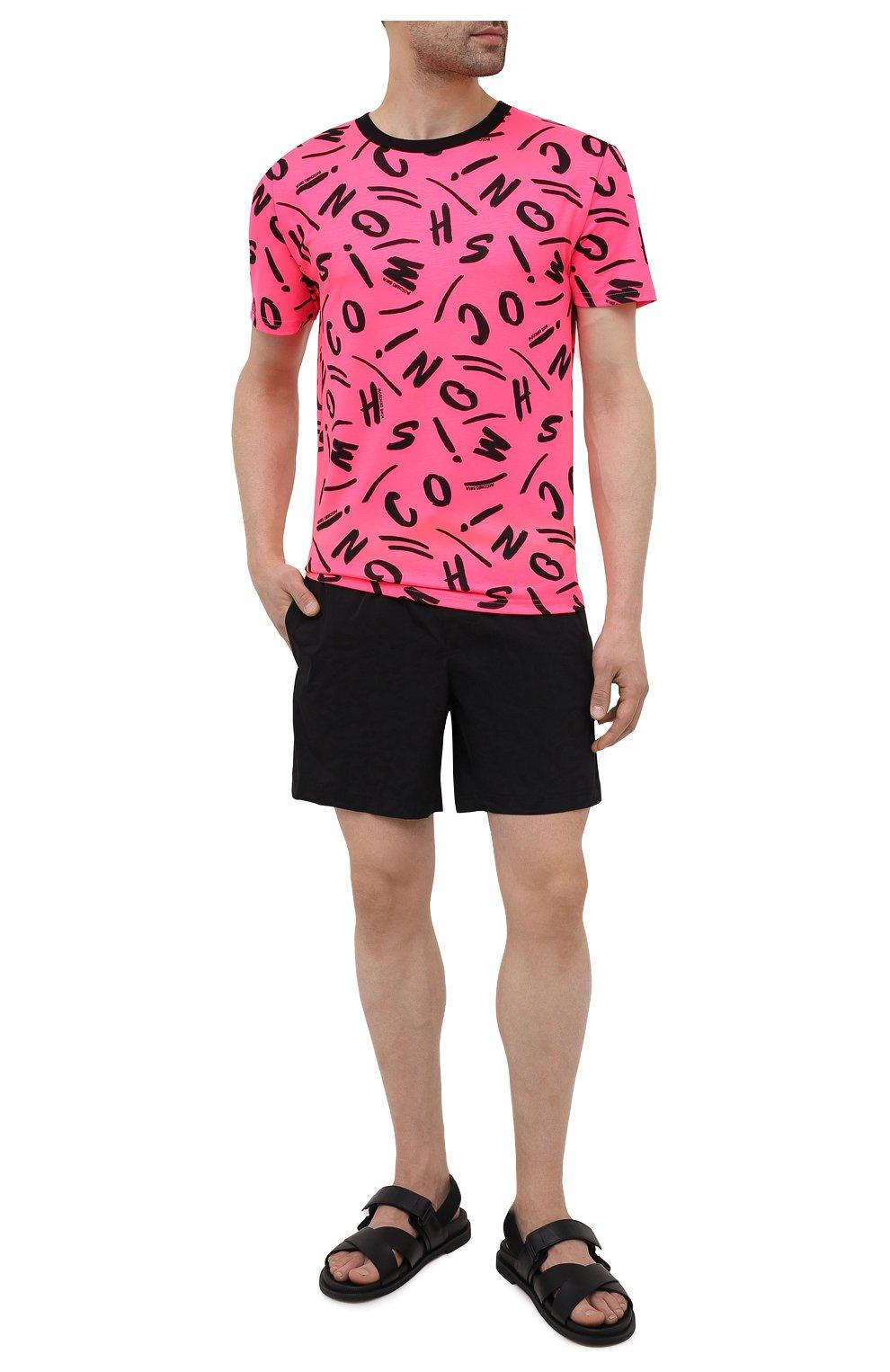 Мужская футболка MOSCHINO розового цвета, арт. A1913/2340   Фото 2 (Мужское Кросс-КТ: Футболка-пляж; Рукава: Короткие; Материал внешний: Синтетический материал; Длина (для топов): Стандартные; Принт: С принтом; Стили: Кэжуэл)