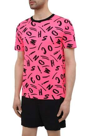 Мужская футболка MOSCHINO розового цвета, арт. A1913/2340   Фото 3 (Мужское Кросс-КТ: Футболка-пляж; Рукава: Короткие; Материал внешний: Синтетический материал; Длина (для топов): Стандартные; Принт: С принтом; Стили: Кэжуэл)