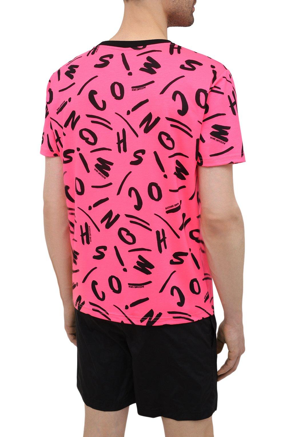 Мужская футболка MOSCHINO розового цвета, арт. A1913/2340   Фото 4 (Мужское Кросс-КТ: Футболка-пляж; Рукава: Короткие; Материал внешний: Синтетический материал; Длина (для топов): Стандартные; Принт: С принтом; Стили: Кэжуэл)