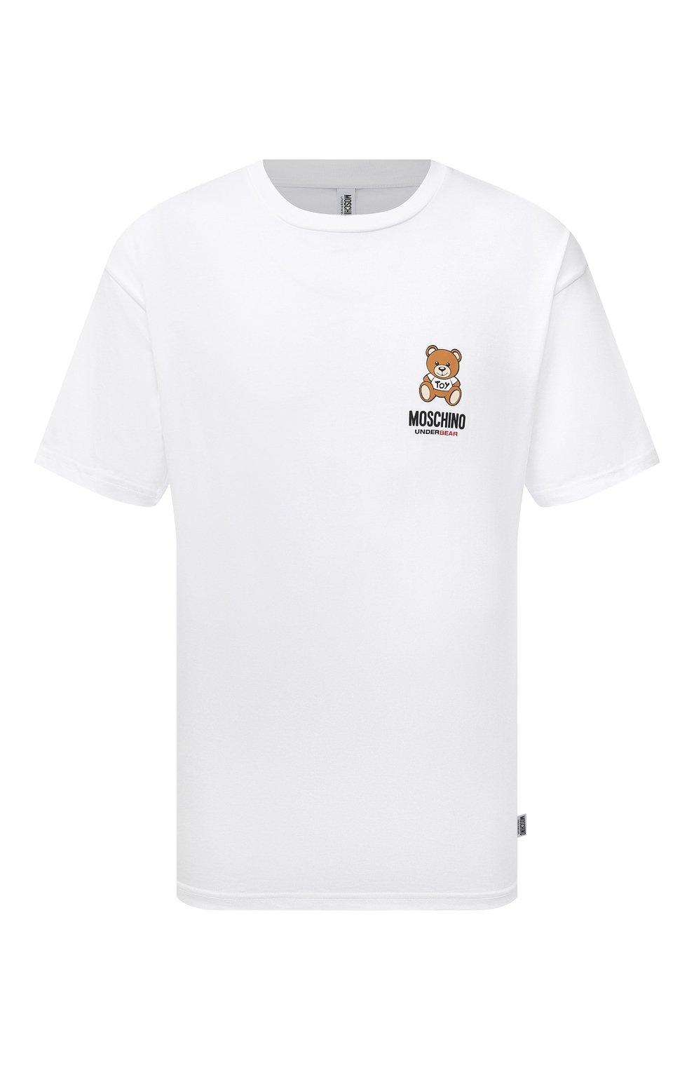 Мужская хлопковая футболка MOSCHINO белого цвета, арт. A1923/8125   Фото 1 (Кросс-КТ: домашняя одежда; Рукава: Короткие; Длина (для топов): Стандартные; Материал внешний: Хлопок; Мужское Кросс-КТ: Футболка-белье)
