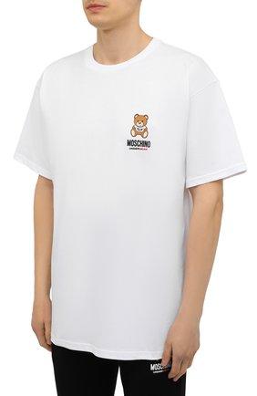 Мужская хлопковая футболка MOSCHINO белого цвета, арт. A1923/8125   Фото 3 (Кросс-КТ: домашняя одежда; Рукава: Короткие; Длина (для топов): Стандартные; Материал внешний: Хлопок; Мужское Кросс-КТ: Футболка-белье)