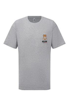 Мужская хлопковая футболка MOSCHINO серого цвета, арт. A1923/8125 | Фото 1 (Длина (для топов): Стандартные; Мужское Кросс-КТ: Футболка-белье; Материал внешний: Хлопок; Рукава: Короткие; Кросс-КТ: домашняя одежда)