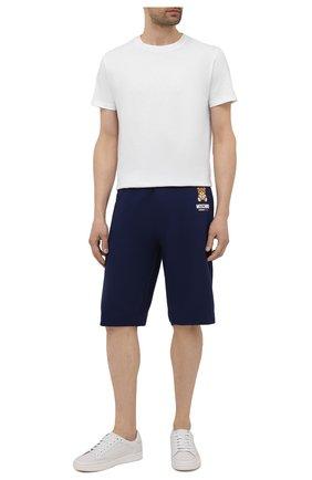 Мужские хлопковые шорты MOSCHINO темно-синего цвета, арт. A4325/8120 | Фото 2 (Кросс-КТ: домашняя одежда; Материал внешний: Хлопок)