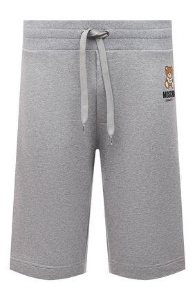 Мужские хлопковые шорты MOSCHINO серого цвета, арт. A4325/8120 | Фото 1 (Материал внешний: Хлопок; Кросс-КТ: домашняя одежда)