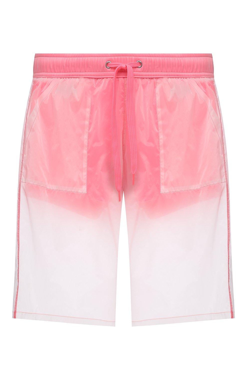 Мужские плавки-шорты MOSCHINO розового цвета, арт. A6164/2313   Фото 1 (Принт: Без принта; Материал внешний: Синтетический материал; Мужское Кросс-КТ: плавки-шорты)
