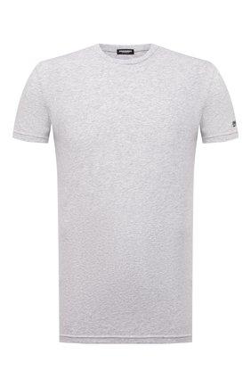 Мужская хлопковая футболка DSQUARED2 серого цвета, арт. D9M203520 | Фото 1 (Материал внешний: Хлопок; Рукава: Короткие; Мужское Кросс-КТ: Футболка-белье; Кросс-КТ: домашняя одежда; Длина (для топов): Стандартные)