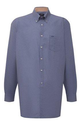 Мужская хлопковая рубашка PAUL&SHARK синего цвета, арт. 21413440/C00 | Фото 1 (Длина (для топов): Удлиненные; Рубашки М: Classic Fit; Рукава: Длинные; Материал внешний: Хлопок; Манжеты: На пуговицах; Случай: Повседневный; Стили: Кэжуэл; Принт: С принтом; Воротник: Button down; Big sizes: Big Sizes)