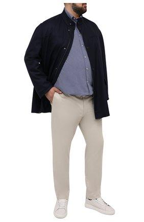 Мужская хлопковая рубашка PAUL&SHARK синего цвета, арт. 21413440/C00 | Фото 2 (Длина (для топов): Удлиненные; Рубашки М: Classic Fit; Рукава: Длинные; Материал внешний: Хлопок; Манжеты: На пуговицах; Случай: Повседневный; Стили: Кэжуэл; Принт: С принтом; Воротник: Button down; Big sizes: Big Sizes)