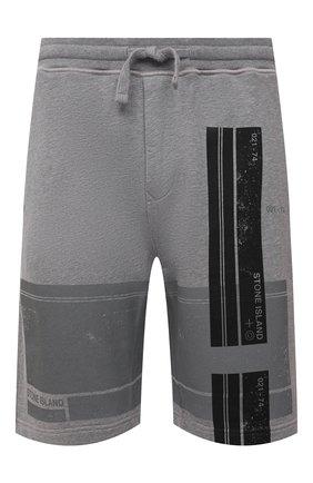 Мужские хлопковые шорты STONE ISLAND серого цвета, арт. 741566596   Фото 1