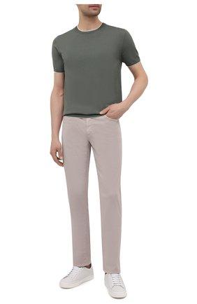 Мужские брюки из хлопка и шелка ZILLI светло-бежевого цвета, арт. M0V-D0120-C0L01/S001 | Фото 2
