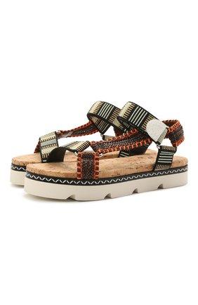 Женские текстильные сандалии CASADEI разноцветного цвета, арт. 1L847S0301PAPEEMTCL | Фото 1