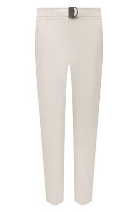 Женские хлопковые брюки BRUNELLO CUCINELLI кремвого цвета, арт. MP126P7227 | Фото 1 (Длина (брюки, джинсы): Стандартные; Материал внешний: Хлопок; Стили: Кэжуэл; Женское Кросс-КТ: Брюки-одежда; Силуэт Ж (брюки и джинсы): Прямые)