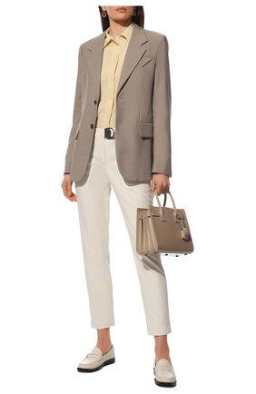 Женские хлопковые брюки BRUNELLO CUCINELLI кремвого цвета, арт. MP126P7227 | Фото 2 (Длина (брюки, джинсы): Стандартные; Материал внешний: Хлопок; Стили: Кэжуэл; Женское Кросс-КТ: Брюки-одежда; Силуэт Ж (брюки и джинсы): Прямые)