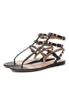 Женские кожаные сандалии rockstud VALENTINO черного цвета, арт. VW0S0812/V0D | Фото 1