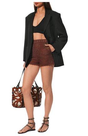 Женские кожаные сандалии rockstud VALENTINO черного цвета, арт. VW0S0812/V0D | Фото 2