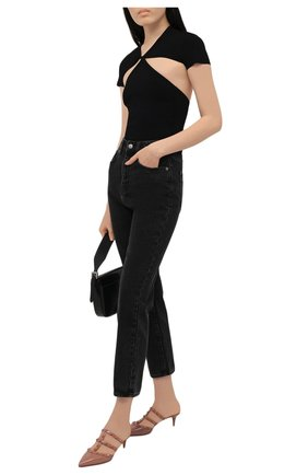 Женские кожаные мюли rockstud VALENTINO темно-бежевого цвета, арт. VW0S0V23/YPX | Фото 2 (Материал внутренний: Натуральная кожа; Каблук высота: Низкий; Подошва: Плоская; Каблук тип: Шпилька)