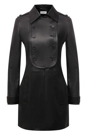 Женское кожаное платье SAINT LAURENT черного цвета, арт. 658382/YC2ZZ | Фото 1