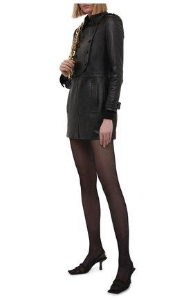 Женское кожаное платье SAINT LAURENT черного цвета, арт. 658382/YC2ZZ | Фото 2