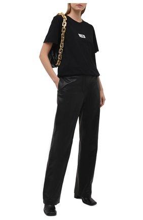 Женская хлопковая футболка MM6 черного цвета, арт. S62GD0083/S23588 | Фото 2