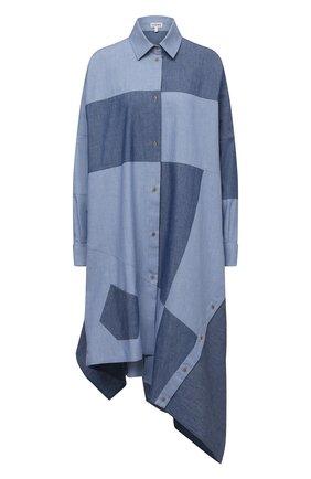 Женское хлопковое платье LOEWE голубого цвета, арт. S540Y09W01 | Фото 1 (Стили: Гранж; Рукава: Длинные; Случай: Повседневный; Длина Ж (юбки, платья, шорты): До колена; Женское Кросс-КТ: Платье-одежда; Материал внешний: Хлопок)